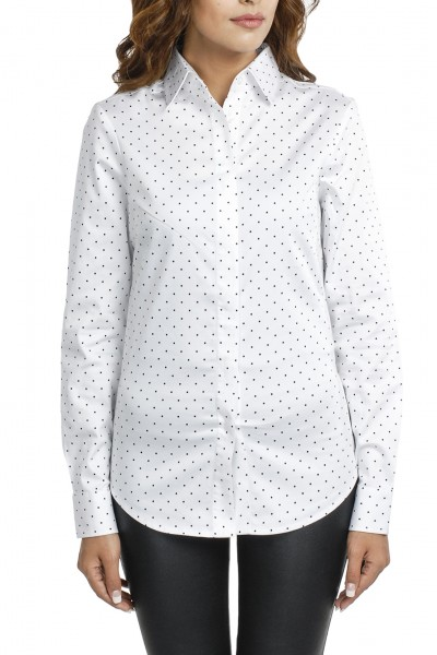 White Polka Print Formal Shirt