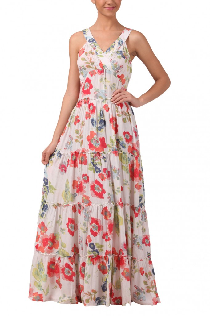 Water colour print boho maxi