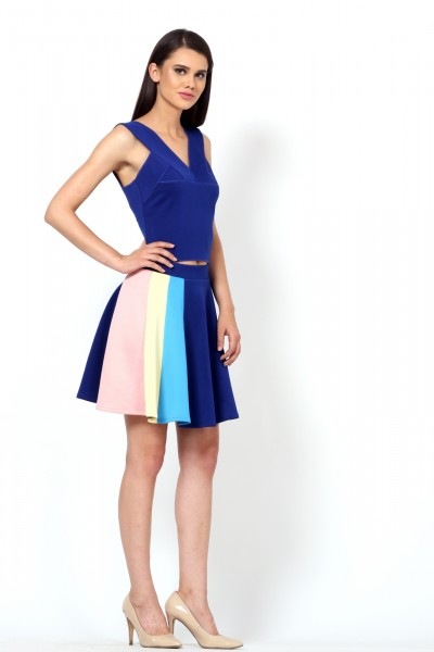 Colour blocked scuba skirt