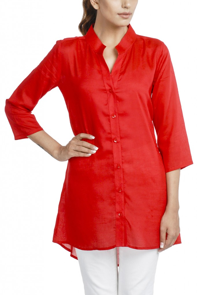 Red  Tunic with Asymmetric Hem